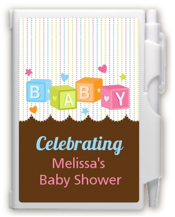Baby Blocks - Baby Shower Personalized Notebook Favor
