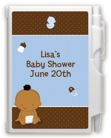 Baby Boy African American - Baby Shower Personalized Notebook Favor
