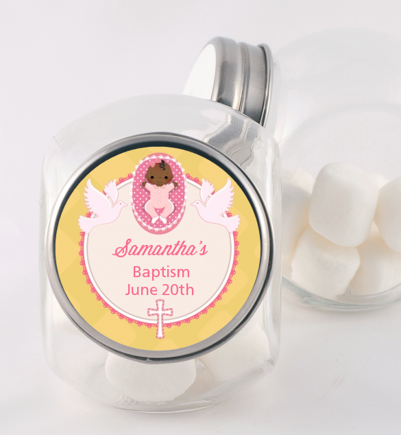 Baby Girl - Personalized Baptism / Christening Candy Jar Option 1