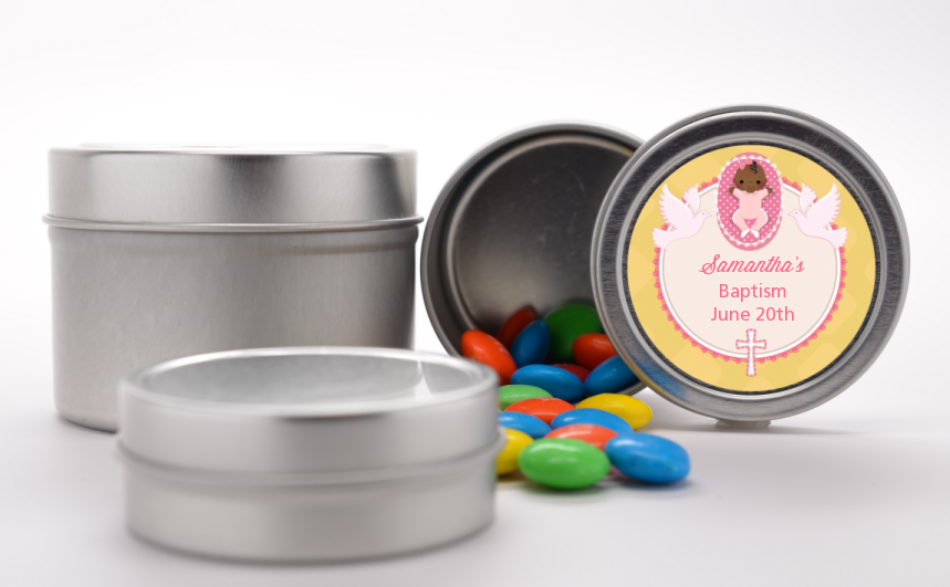 Baby Girl - Custom Baptism / Christening Favor Tins Option 1