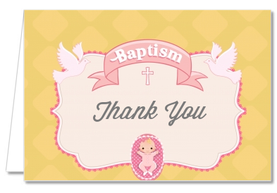Baby Girl - Baptism / Christening Thank You Cards Option 1