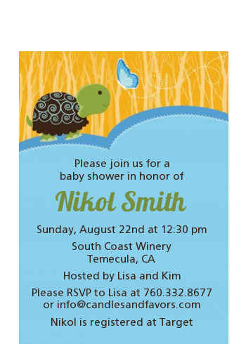 Baby Turtle Blue - Baby Shower Petite Invitations