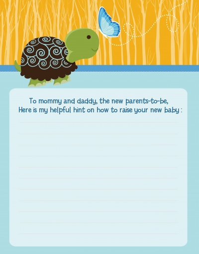Baby Turtle Blue - Baby Shower Notes of Advice