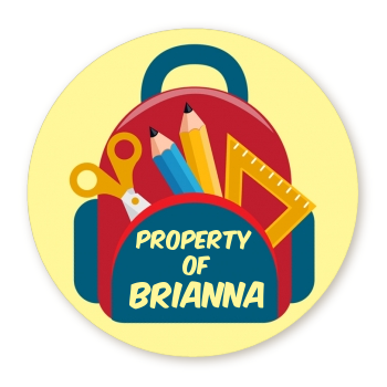 Backpack - Round Personalized School Sticker Labels