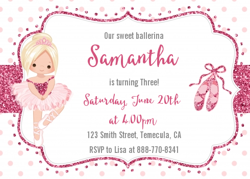 Ballerina - Birthday Party Invitations Black Hair