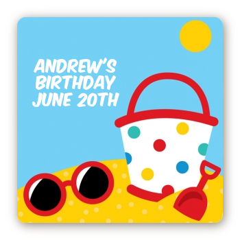Beach Toys - Square Personalized Birthday Party Sticker Labels