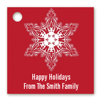 Big Red Snowflake - Personalized Christmas Card Stock Favor Tags