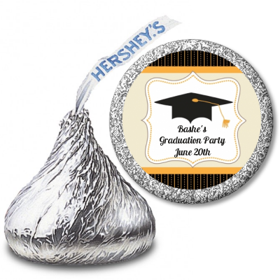 Black & Gold - Hershey Kiss Graduation Party Sticker Labels