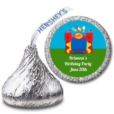 Bounce House - Hershey Kiss Birthday Party Sticker Labels