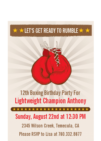 Boxing Gloves - Birthday Party Petite Invitations