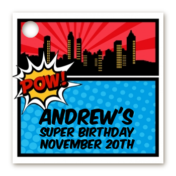 Calling All Superheroes - Personalized Birthday Party Card Stock Favor Tags