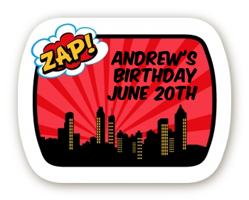 Calling All Superheroes - Personalized Birthday Party Rounded Corner Stickers
