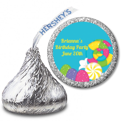 Candy Land - Hershey Kiss Birthday Party Sticker Labels
