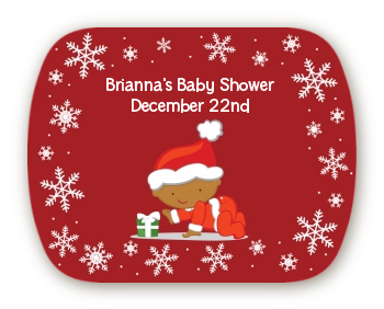 Christmas Baby Snowflakes African American - Personalized Baby Shower Rounded Corner Stickers A