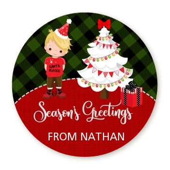 Christmas Boy - Round Personalized Christmas Sticker Labels OPTION 1