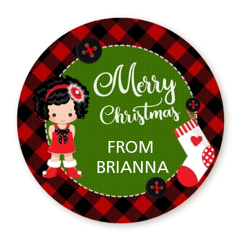 Christmas Girl - Round Personalized Christmas Sticker Labels Option 1