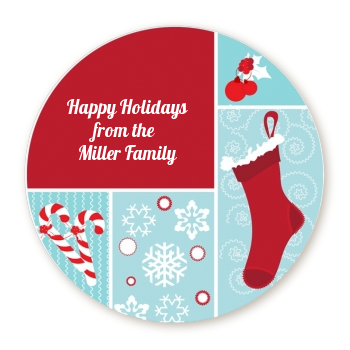 Christmas Spectacular - Round Personalized Christmas Sticker Labels