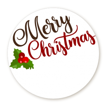 Christmas Time - Round Personalized Christmas Sticker Labels Option 1