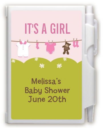 Clothesline It's A Girl - Baby Shower Personalized Notebook Favor