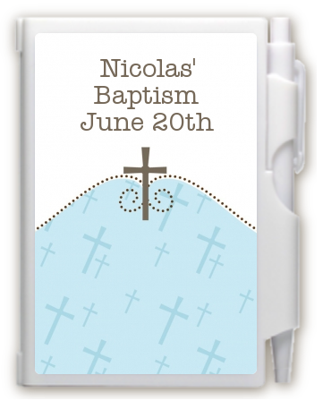 Cross Blue - Baptism / Christening Personalized Notebook Favor