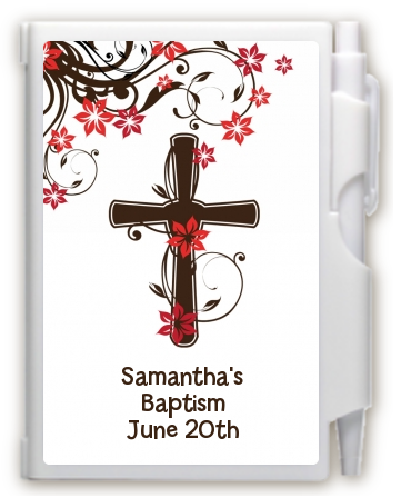 Cross Floral Blossom - Baptism / Christening Personalized Notebook Favor