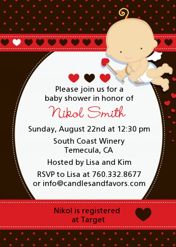 Cupid Baby Valentine's Day - Baby Shower Invitations Black Background