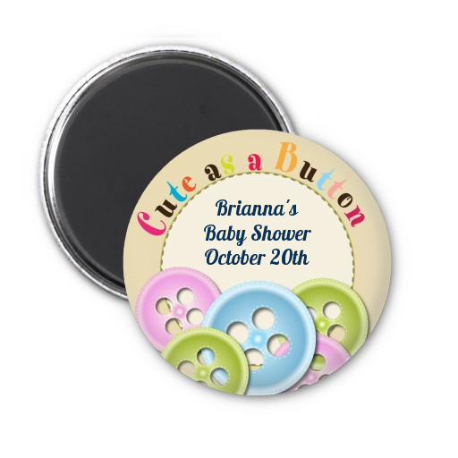 Cute As a Button - Personalized Baby Shower Magnet Favors Blue and Pink