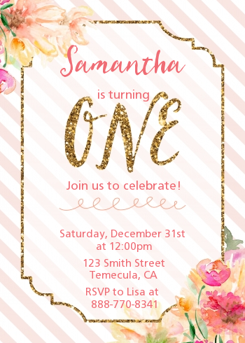 Fun to be One - 1st Birthday Girl - Birthday Party Invitations