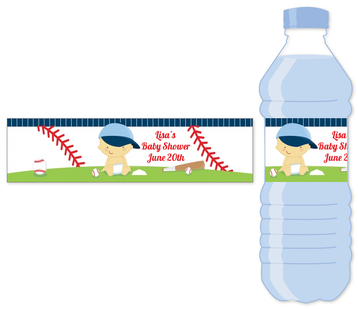 Future Baseball Player - Personalized Baby Shower Water Bottle Labels Caucasian