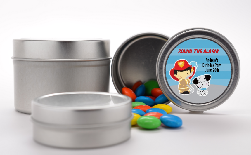 Future Firefighter - Custom Birthday Party Favor Tins Caucasian Boy