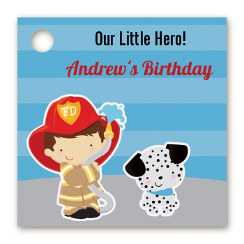 Future Firefighter - Personalized Birthday Party Card Stock Favor Tags Caucasian Boy