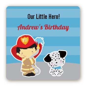 Future Firefighter - Square Personalized Birthday Party Sticker Labels Caucasian Boy
