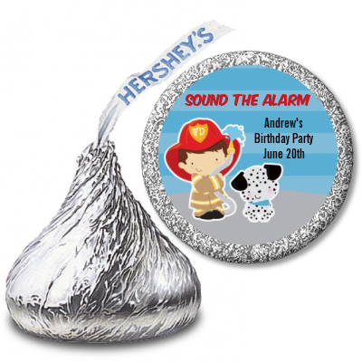 Future Firefighter - Hershey Kiss Birthday Party Sticker Labels Caucasian Boy
