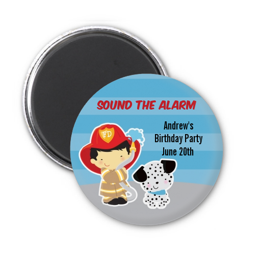Future Firefighter - Personalized Birthday Party Magnet Favors Caucasian Boy