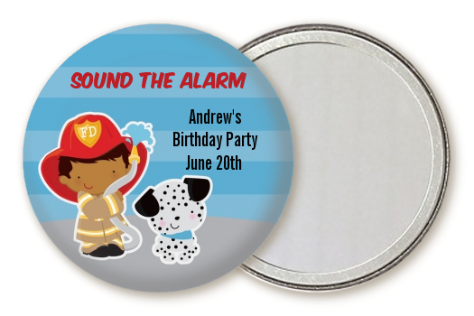 Future Firefighter - Personalized Birthday Party Pocket Mirror Favors Caucasian Boy