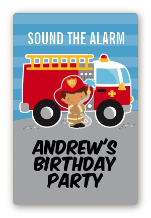 Future Firefighter - Custom Large Rectangle Birthday Party Sticker/Labels Caucasian Boy