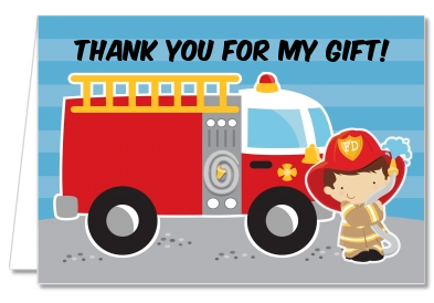 Future Firefighter - Birthday Party Thank You Cards Caucasian Boy