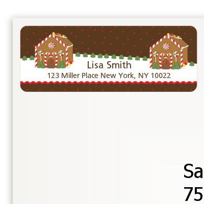 Gingerbread House - Christmas Return Address Labels