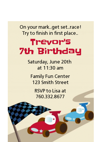 Go Kart - Birthday Party Petite Invitations