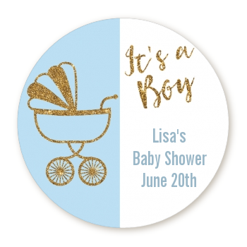 Gold Glitter Blue Carriage - Round Personalized Baby Shower Sticker Labels