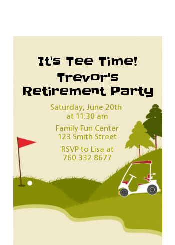 Golf Cart - Retirement Party Petite Invitations