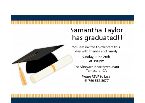 Graduation Cap - Graduation Party Petite Invitations black & gold