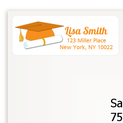 Graduation Cap Orange - Graduation Party Return Address Labels
