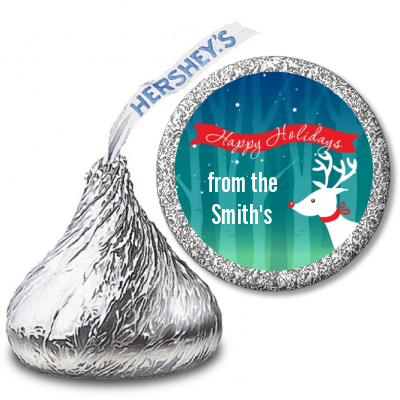 Happy Holidays Reindeer - Hershey Kiss Christmas Sticker Labels
