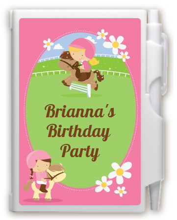 Horseback Riding - Birthday Party Personalized Notebook Favor