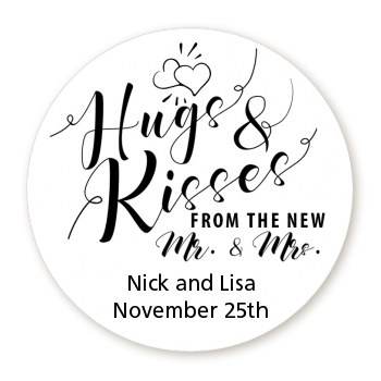 Hugs & Kisses From Mr & Mrs - Round Personalized Bridal Shower Sticker Labels