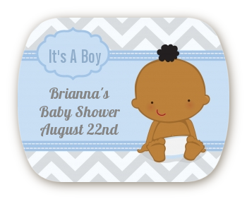 It's A Boy Chevron African American - Personalized Baby Shower Rounded Corner Stickers