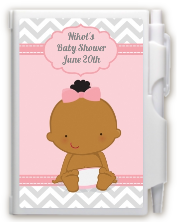It's A Girl Chevron African American - Baby Shower Personalized Notebook Favor