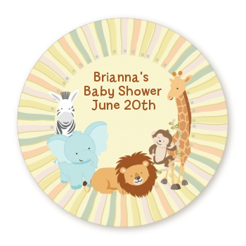 Jungle Safari Party - Round Personalized Baby Shower Sticker Labels Option 1