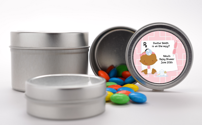 Little Girl Doctor On The Way - Custom Baby Shower Favor Tins Caucasian
